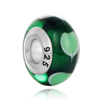 Fit Pandora Bracelet Bangle High Quality Silver Plated Green Petal Lampwork Murano Glass Bead Charm For Women DIY Jewelry Making