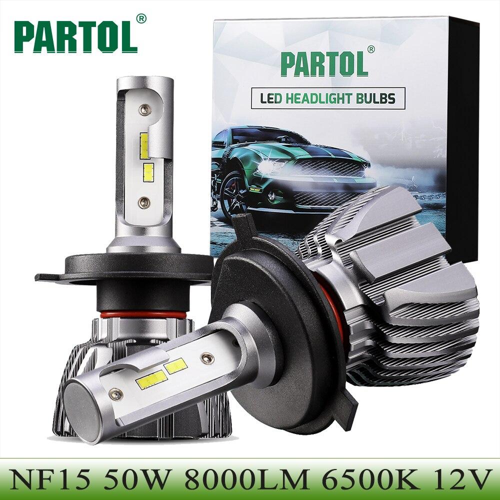 Partol H4 Hallo Lo Strahl Auto-led-scheinwerferlampen 50 Watt 8000LM H7 H11 9005 9006 H1 H3 LED Automobile Scheinwerfer Frontleuchte 6500 Karat 12 V 24 V