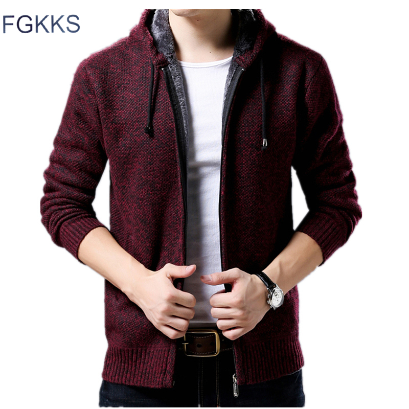 FGKKS Fashion Men's Sweater Coat Thicken Sweater Winter Male Warm Cashmere Slim Fit Zipper Casual Men Sweater Knitted Coat