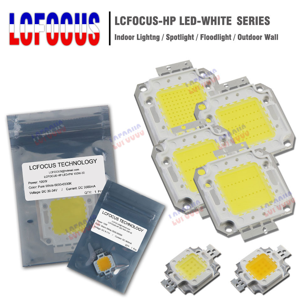 Haute puissance LED puce COB 10 W 20 W 30 W 50 W 100 W SMD lumière chaude pur blanc pour bricolage 10 20 30 50 100 W Watt extérieur LED lumière alimentaire