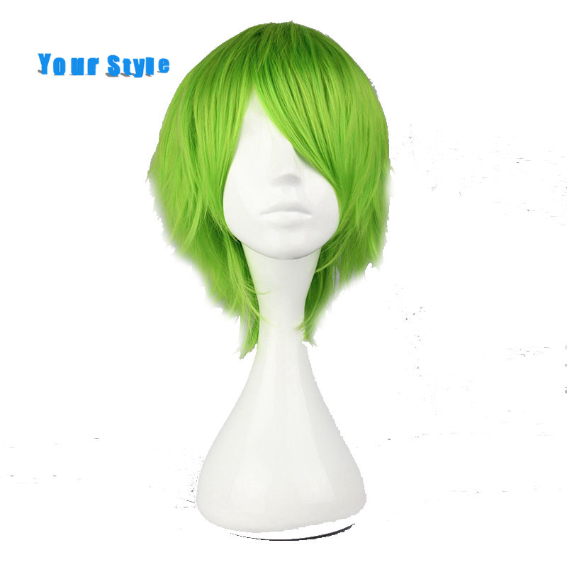Your Style Short Curly Green Cospaly Wigs Male for Costume Party Synthetic Fake Hair Style for Men High Temperature Fiber
