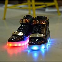 Children LED Luminous Shoes 7 Colors High Top Fashion USB Charging boys girls Led Light Up Shoes For Kids Leather Glowing Shoes