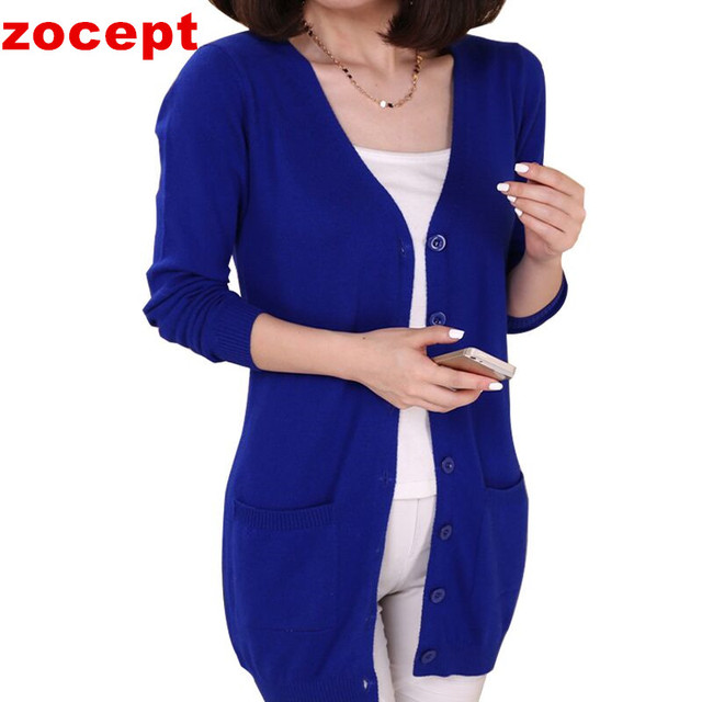 zocept 2016 Women's Clothing Soft and Comfortable Coat Women Spring Autumn Knitted V-Neck Long Cardigan Female Sweater Jacket