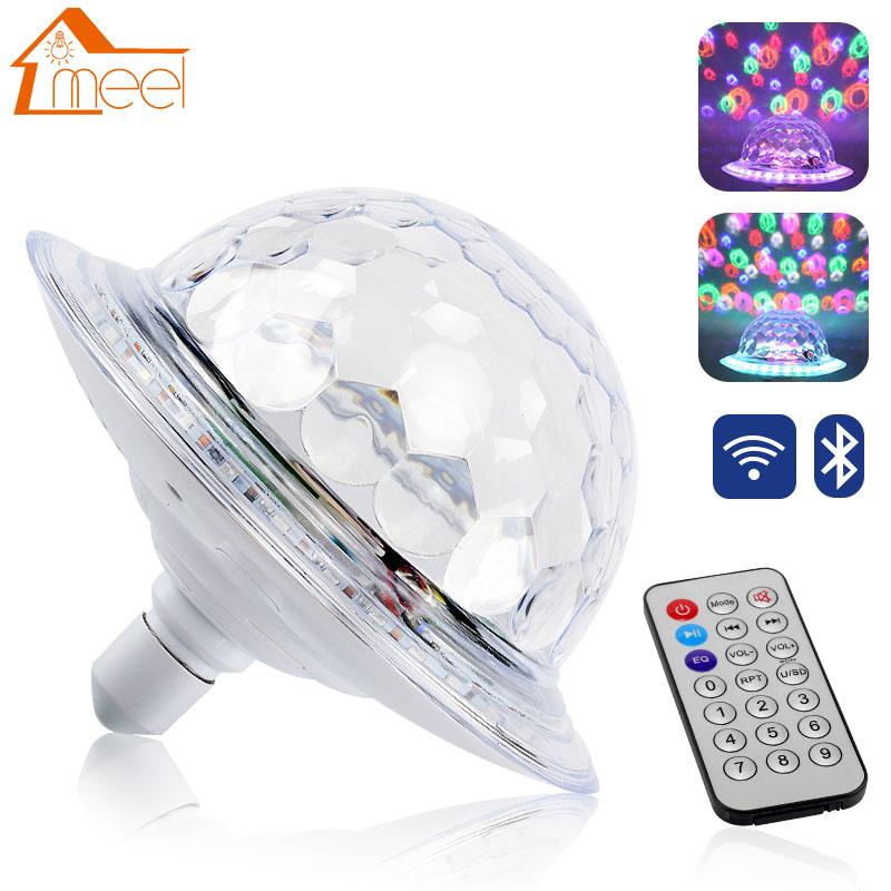 Ufo Crystal Magic Berputar Bola E27 Bluetooth Mp3 Rgb Disco Light 6 Warna Remote Control Proyektor Pesta Dj Panggung Tahap Efek Pencahayaan Aliexpress