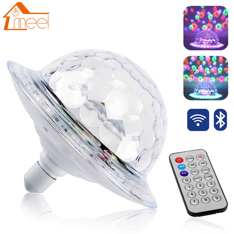 UFO Crystal Magic Rotating Ball E27 Bluetooth MP3 RGB Disco Light 6 colors Remote Control Projector Party DJ Stage Lighting 6w e27 led stage light rgb lamp with voice activated mp3 projector crystal magic ball rotating disco dj party stage lighting