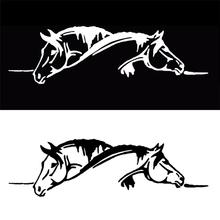 Car Sticker Waterproof sticker Suitable for all cars Creative Two Horses Graphic Car Sticker And Funny Animal Decal Car Style
