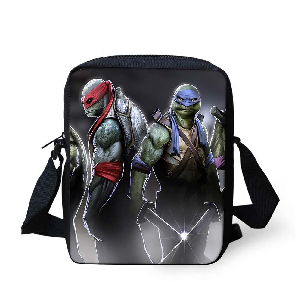 Unisex School Bags Ninja Turtles TMNT Cartoon Printed One Shoulder Straps for Carrying Comfort Pocket Students Messenger Bag