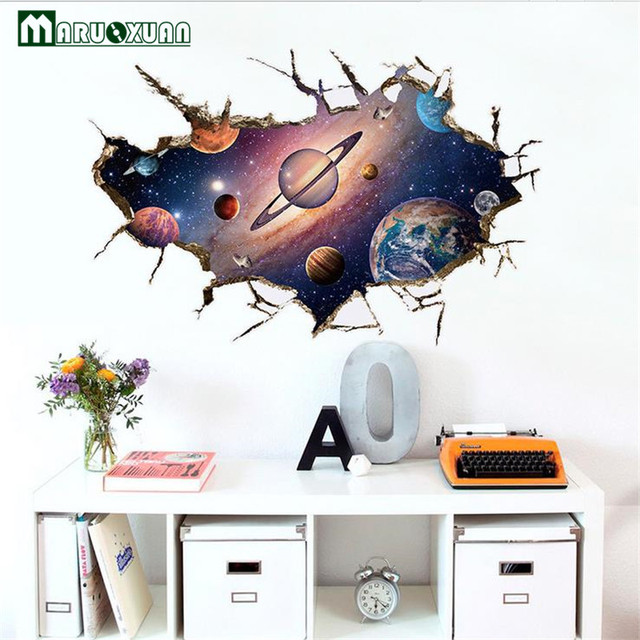 3d astronaut wall decor kids maruoxuan 3d scenery outer space astronauts wall stickers for kids room backdrop home decor mural decal