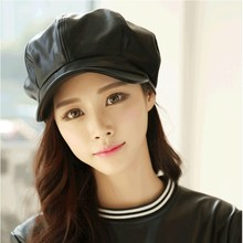 PU Leather Hat Beret Male Winter Spring Octagonal Cap Women Peaked