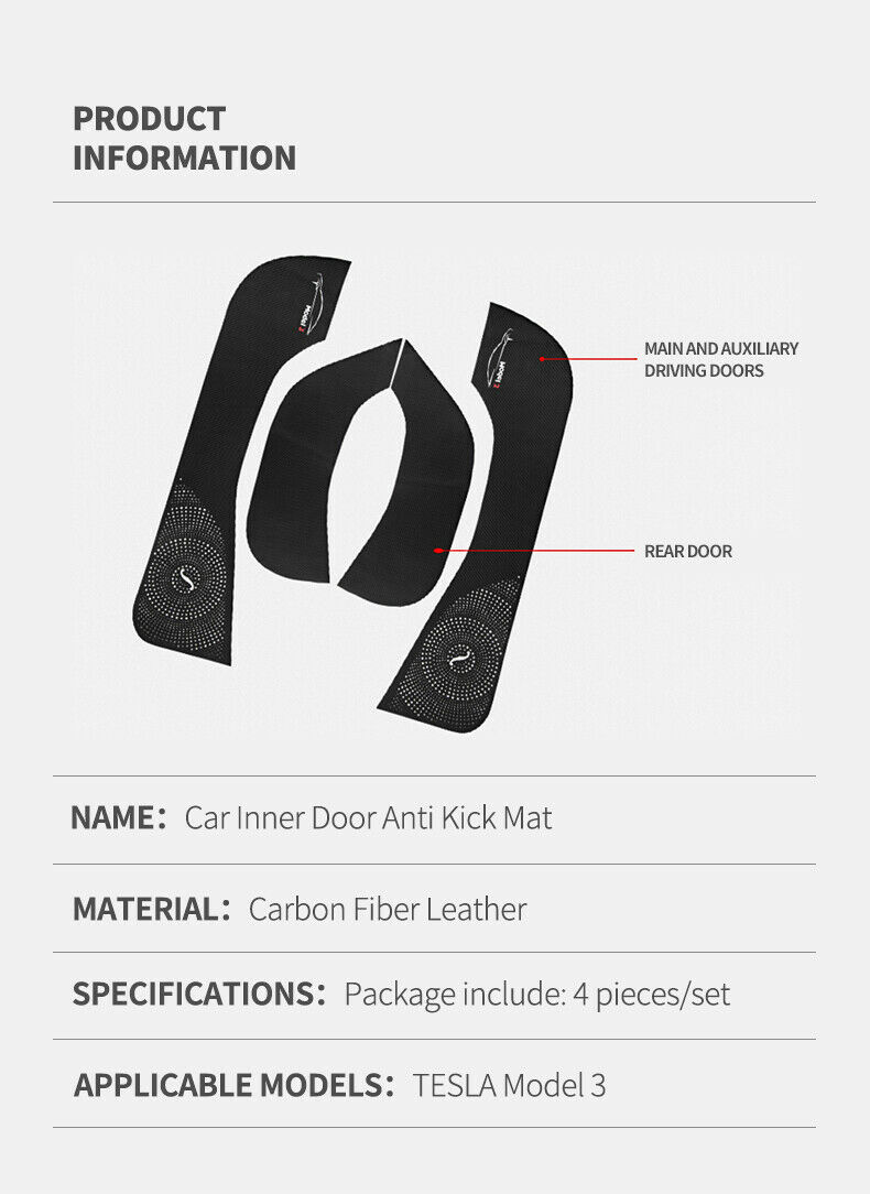 4pcs Car Door Anti Kick Pad Carbon Fiber Leather Protective Cover Auto Door Mat Anti dirty Sticker For Tesla Model 3 in Anti Child Kick Pad from Automobiles Motorcycles