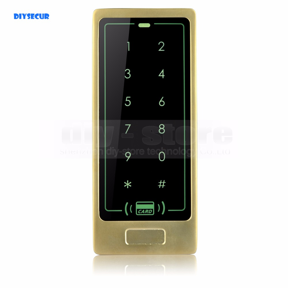 DIYSECUR Access Controller Metal Case 125KHz RFID Reader Password Touch Keypad Backlight Brand New Safety For Home/ Office dc 12v touch keyboard blue led key rfid 125khz em cards password access controller 10 keycards
