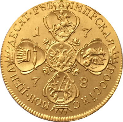 100% 24-K Gold plated 1778 russia 10 Roubles gold Coin copy