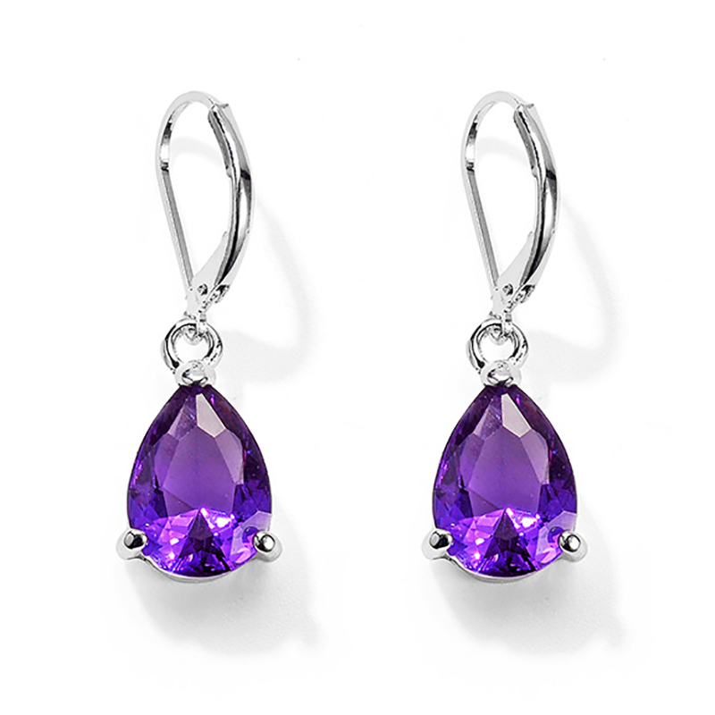 Hot Sale Purple Crystal Stone Drop <font><b>Earrings</b></font> For Women Silver Color Crystal Clip <font><b>Dangle</b></font> <font><b>Earrings</b></font> Ear Jewelry Fashion brinco image