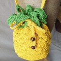 New Pineapple Strawberry Watermelon Fruit Bag Cartoon Children Knitted Bag Women Straw Aslant Beach Bag Female Small Coin Purse