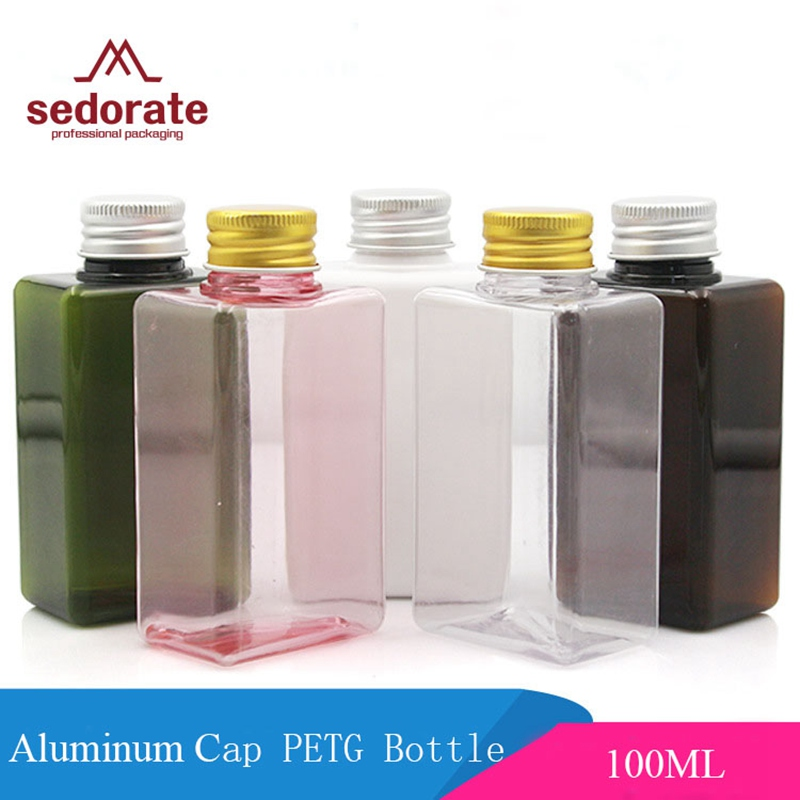 Sedorate 10 pcs/Lot 100ML PET Empty Square Bottle For Cosmetic Packaging Plastic Bottle With Aluminum Screw Cap JX109-1