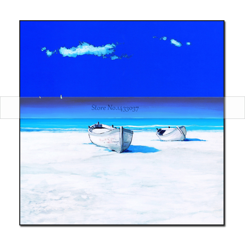 Ručně malované Modré nebe Přímořský pohled Olejomalba - Dekorace interiéru