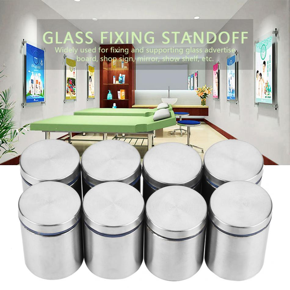 Glass Standoff 8Pcs M38*50mm Stainless Steel Advertise Fixing Pin for Fixing and Supporting Glass Advertise Board Shop Sign Show Shelf Mirror