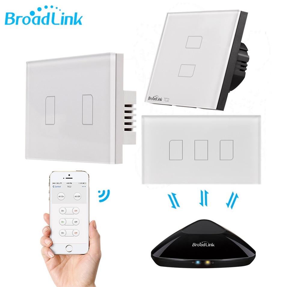 Broadlink TC2 1 2 3 Gangue Wi-fi de Casa Inteligente Interruptor de Luz 170-240 V Painel de Vidro Interruptor de Toque Sem Fio controle remoto por RM03 RM Pro