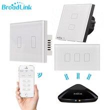 Broadlink tc2 1 2 3 gang casa inteligente wifi interruptor de luz 170 240 v painel de vidro sem fio interruptor de toque controle remoto por rm03 rm pro