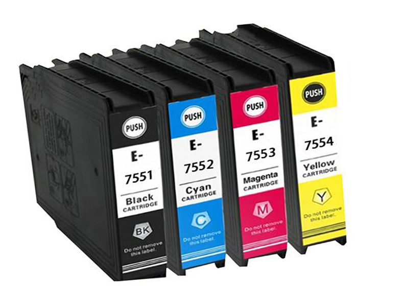 1Set Compatible ink cartridge T7551 T7552 T7553 T7554 for EPSON Workforce Pro WF-8090DW 8090DWF 8510DWF 8010DW 8590DWF картридж epson c13t756440 для epson workforce pro wf 8090dw workforce pro wf 8590dwf желтый