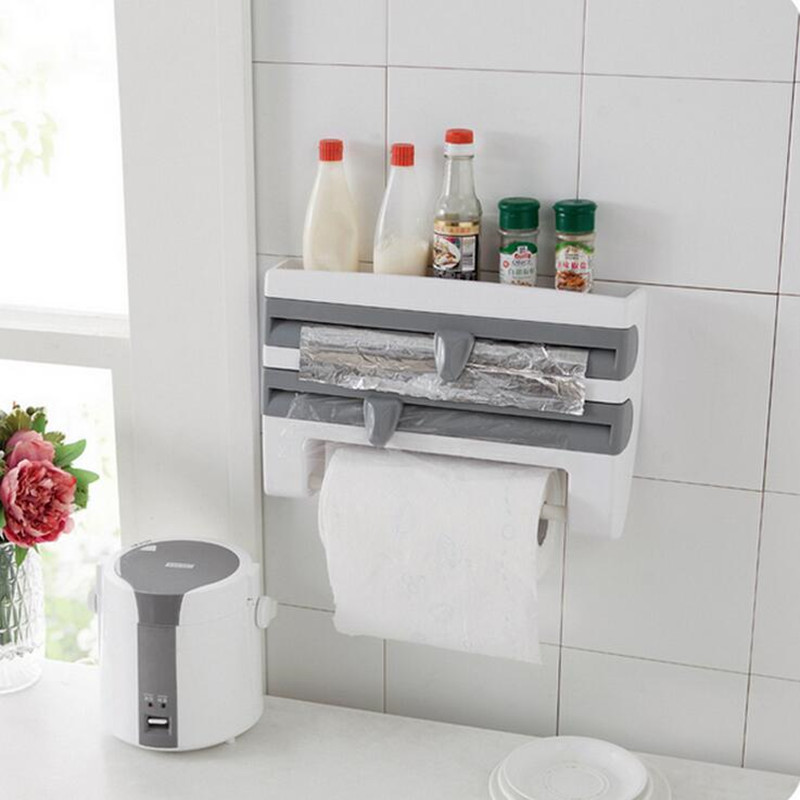 ZIDUKE Kitchen Rack Refrigerator Wall Hanging Rack Cling Film Frame Plastic Wrap With Cutter Paper Towel Rack Storage Rack|plastic wrap|cling film|cling film wrap - title=