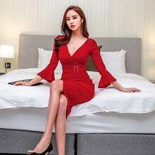 7835920329 red butterfly sleeve autumn dress women casual sexy party dress office  ladies dresses vestidos work midi korean dress