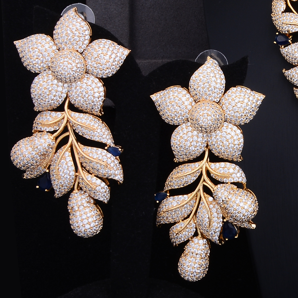 Luxury Rose Flower Cluster Floral 2 Tone Wedding Jewelry Set 4