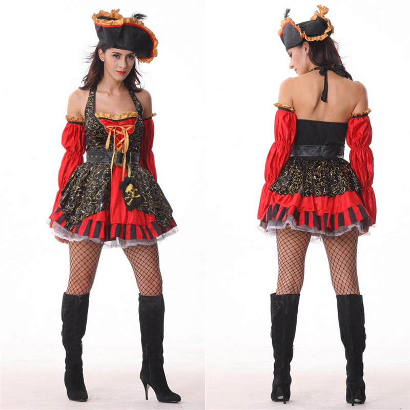 VASHEJIANG 2017 New Sexy Women Pirate Costume Halloween Fancy Party Dress Red Adult Sexy Matador Pirate Captain Costume with hat