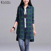 ZANZEA Women 2016 Autumn Vintage Plaid Shirts Lapel Long Sleeve Split Asymmetrical Hem Long Blouses Tops