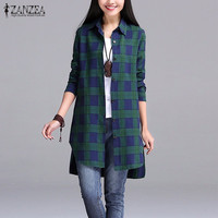 ZANZEA Women 2016 Autumn Vintage Plaid Shirts Lapel Long Sleeve Split Asymmetrical Hem Long Blouses Tops