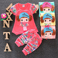 2016 Fashion Summer Toddle Girl Clothes Print Floral Cartoon T-Shirt+Short Pants Cotton Casual Clothes Set Sport Suits