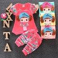 2016 de Moda de Verano de La Muchacha Toddle Ropa Impresión Floral Camiseta de la Historieta + Pantalones Cortos de Algodón Ropa Casual Set Sport trajes