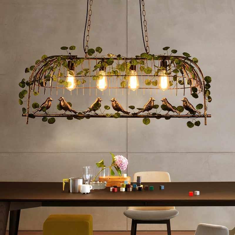 Винтаж птица кулон свет железа Американский промышленный Лофт, ручной стержень, для кафе, для личности E27 Декор подвесные нордическая лампа с клеткой