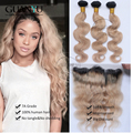 7A Malaysian Human Virgin Hair Body Wave 3 Bundles With Ear To Ear 13*4 Lace Frontal Closure Ombre # 1B/27 Free Shipping