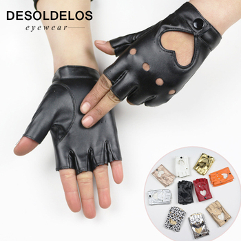 DesolDelos Women's Semi Finger Hip Hop Gloves Lady's Leather Heart Cutout Sexy Fingerless Gloves Girls Performance Dancing Glove women rivets leather gloves semi finger mens rivet belt pu gloves sexy cutout fingerless gloves