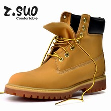 Z.Suo Winter Warm Snow Boots Lace Up Leather Boots Outdoor Casual Timber Boots Men and Women Shoes Botas Hombre Fashion Boots