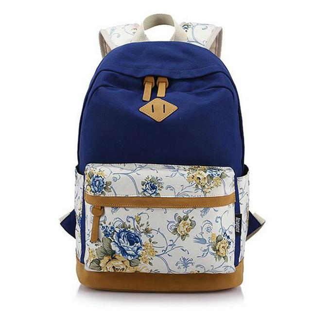 Marca genuína de couro de qualidade Floral saco de lona escola mochila para adolescente Girl Laptop Bag impressão mochila mulheres mochila