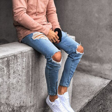 Men Jeans Stretch Destroyed Ripped Design Male Denim Pants New Fashion Ankle Zipper Skinny Hip Hop Men Trousers Pants With Hole men contrast stitching destroyed denim pants