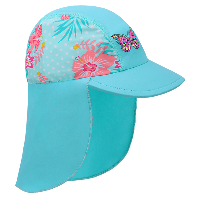 541d8c75bb BAOHULU Cute Cyan Print Swimming Cap Children Summer Baby Sun Protection  Swim Hats Waterproof for Girls