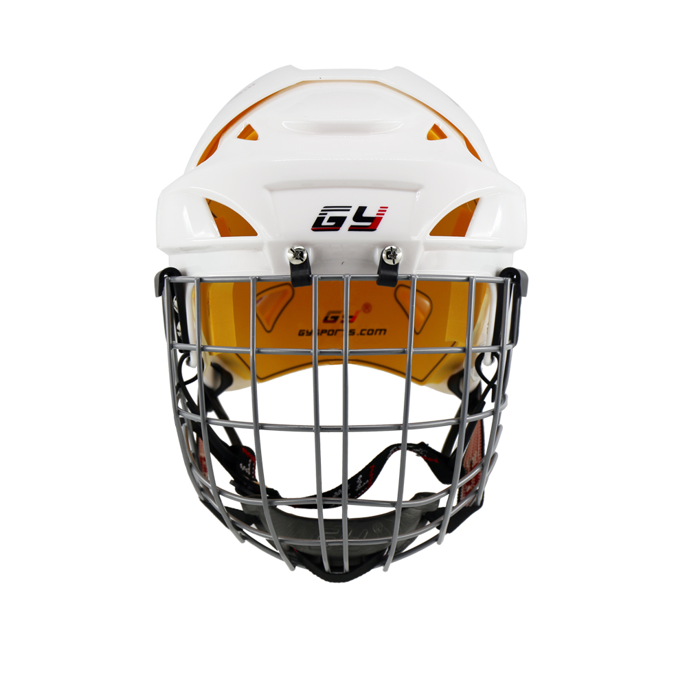 2018 Improving Ice Hockey Helmet Combo Mask face Shield Cage Steel Guard Equipment Children hockey Gear Yellow comfortable liner клаксон lh 8 12v s8