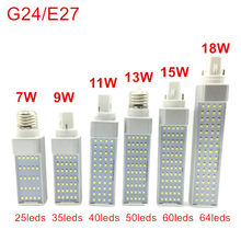 G24/E27 LED Bulbs 7W 9W 11W 13W 15W 18W LED Corn Bulb Lamp Light SMD 2835 Spotlight 180 Degree AC85-265V Horizontal Plug Light(China)