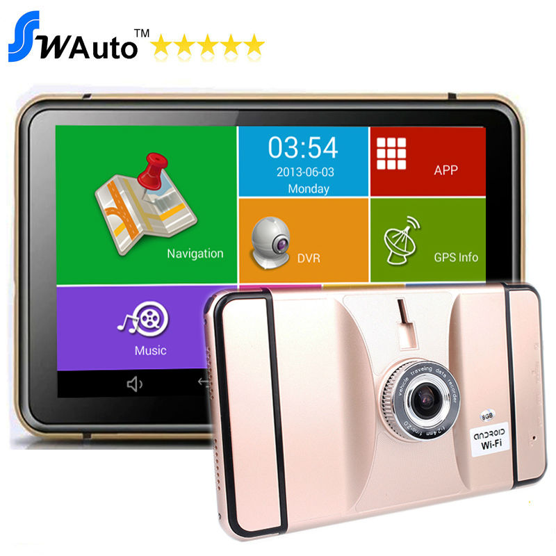 7 Inch Android GPS DVR Navigation Tablet Android 4.4 Wifi Bluetooth AV-IN FM 8G 512M Lens 170 Angle 1080P G-Sensor