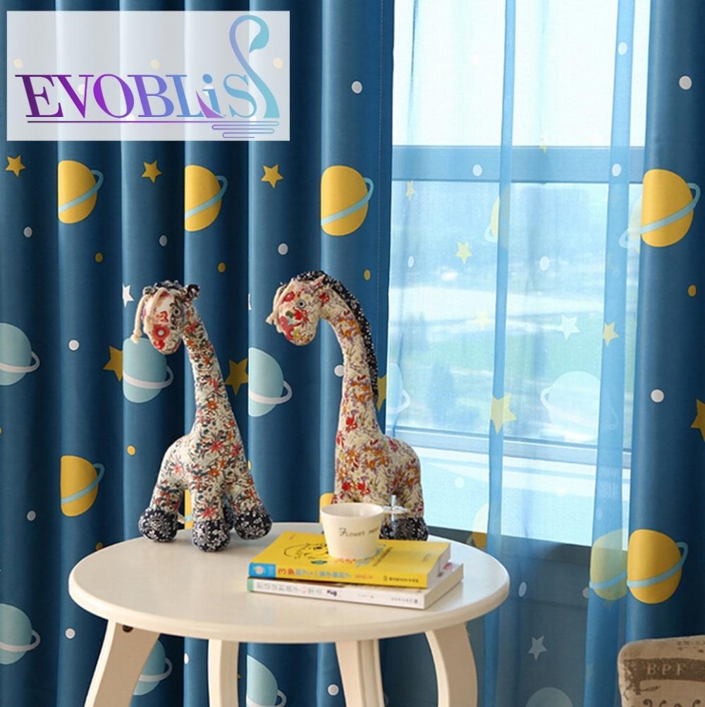 Evren yıldız çocuklar için yatak odası perdeleri için karartma - Ev Tekstili - Fotoğraf 1