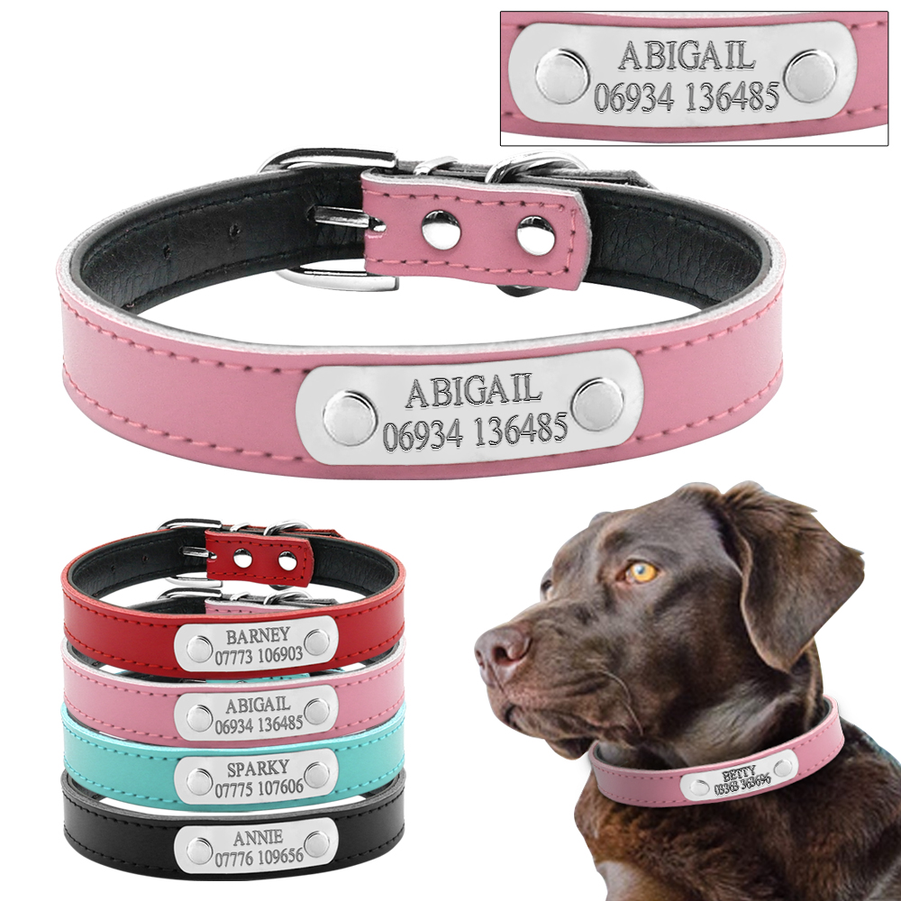 Didog Personalized Dog ID Collar Customized Dogs Collars Soft Inner Leather Padded Free Engraving XS S M