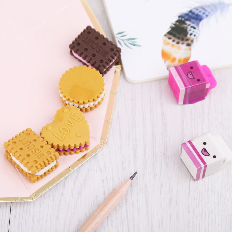6pcs/set Eraser Kawaii Biscuit Milk Rubber Pencil Eraser Kids Student School Creative Stationery