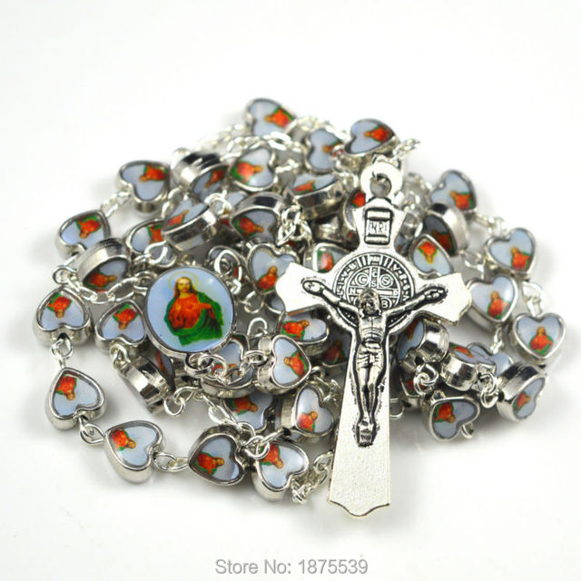 Jesus heart alloy bead rosary necklace with same picture rosary centerpiece and benedict cross