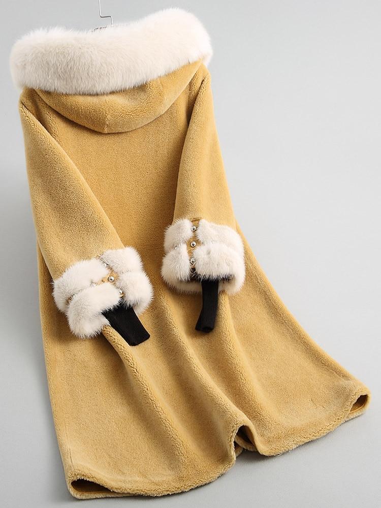 yellow Lai Yang Réel Manteaux Femme Coréenne Veste Manteau Femmes Fourrure Hiver Col Laine Fox Hong Long 100 De My2138 Automne qHT6aq
