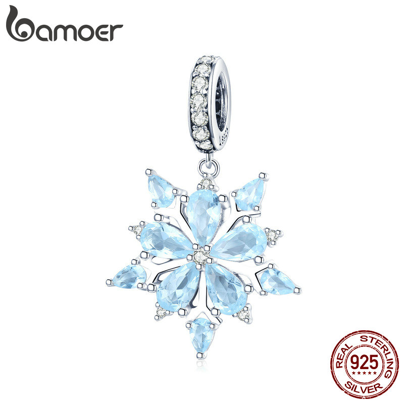 BAMOER High Quality 925 Sterling Silver Winter Snowflake Blue CZ Elegant Charms Pendant fit Necklaces Pendant Jewelry SCC940BAMOER High Quality 925 Sterling Silver Winter Snowflake Blue CZ Elegant Charms Pendant fit Necklaces Pendant Jewelry SCC940