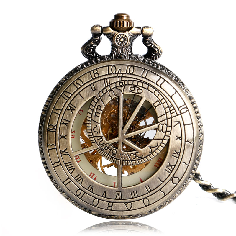 Luxury Hollow Constellation Fob Hand Wind Trendy Windup Compass Skeleton Men Pocket Watch Chain Stylish Mechanical Gift Bronze new black skeleton five star luxury hot stylish retro cool crown pattern hand wind mechanical pocket watch supernatural gift