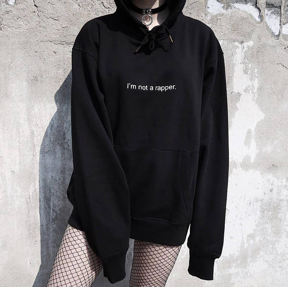 289608c920c I m Not a Rapper Hoodies Fashion Casual Pullover Tumblr Fleece Women  Sweatshirt Inspired 90s